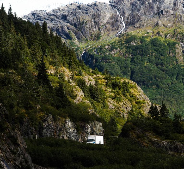 royal alaskan movers truck mountain road