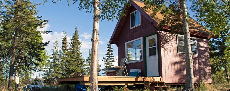 Alaska cabin in remote wilderness locations.